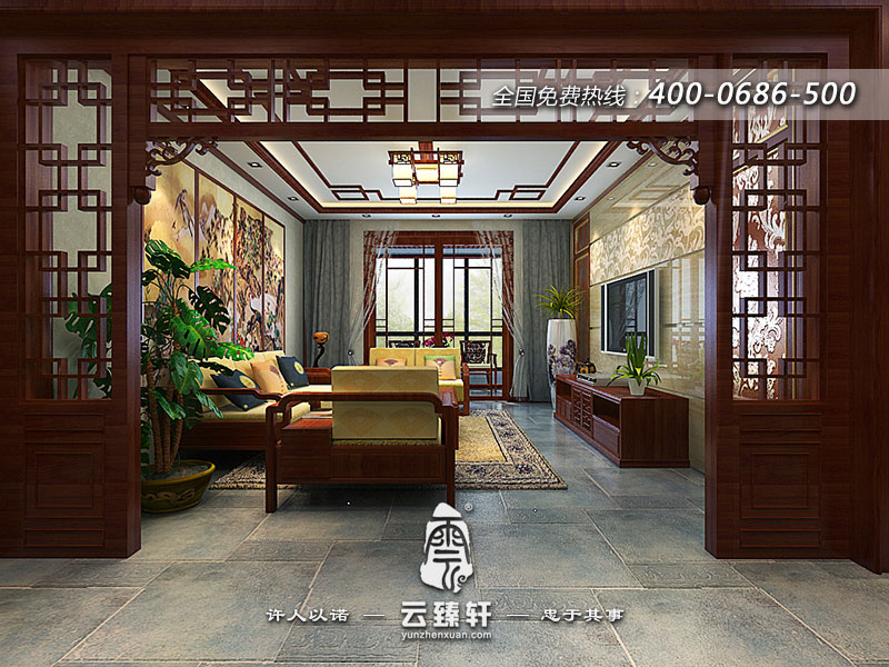 中式设计师在本案古典中式风格装修中营造的是一种使空间尽情地挥洒源
