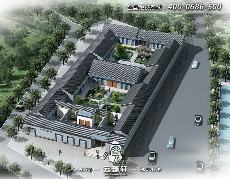 门业展厅效果图-三进院四合院建筑设计外观鸟瞰效果图