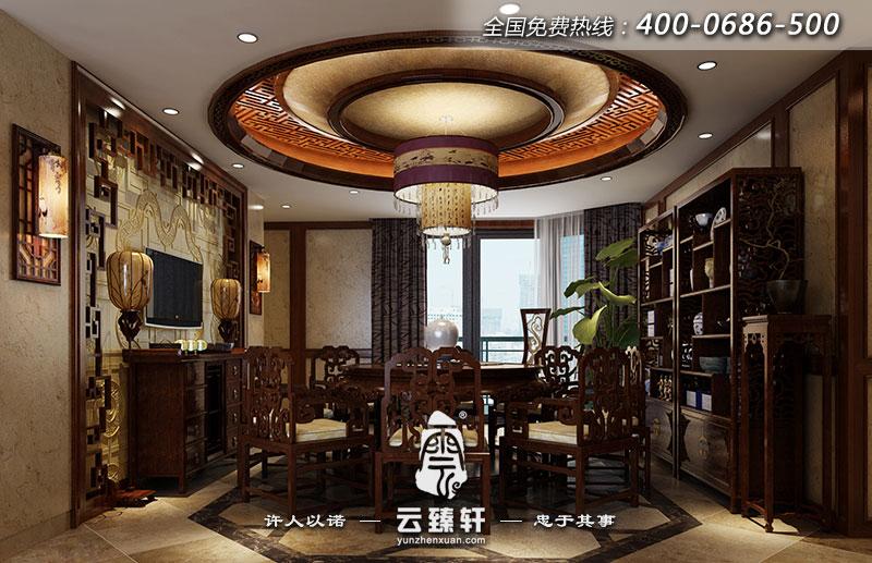中式设计师以回纹吊顶为共享空间,整体格调以中式古典风格为主.