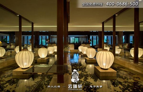 江阴新中式spa养生会所大厅装修