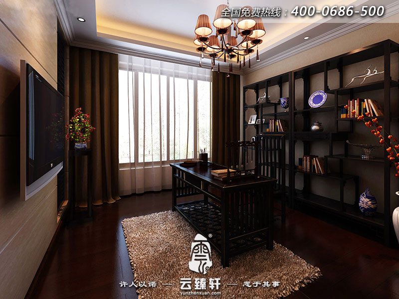 新中式风格书房装修效果图_北京云臻轩中式设计机构