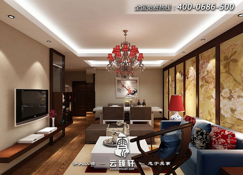 中式客廳屏風效果圖