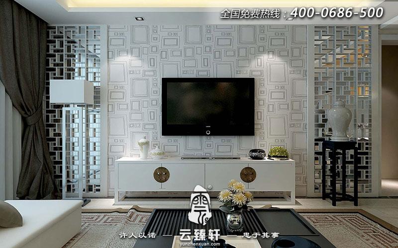現代中式背景墻的裝修運用了花格和壁紙相結合,色彩把控上簡單采用了白色,燈光上使用LED光源,背景墻裝飾了一個具有東方韻味的家。
