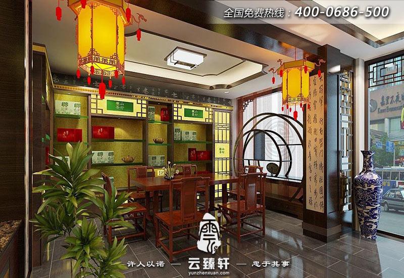 茶叶店面右侧区域的中式设计
