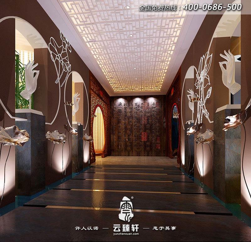 """与传统的奢华风格不同,本案中式养生会馆在低调的奢华中寻找独树一帜的创意主题,以""""中式文化""""题材贯穿其中, 将""""中式""""融入概念主轴,从而令人简单而轻松地享受奢华中的暇逸之乐。"""