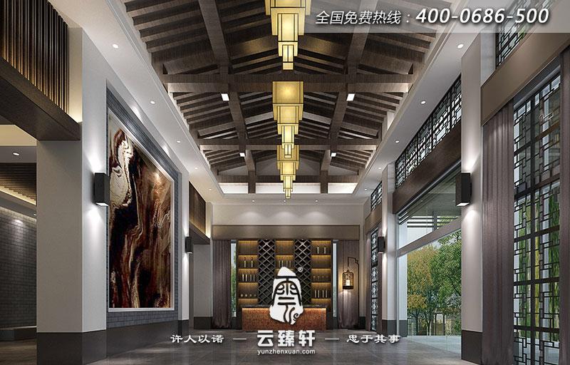 北京新中式休闲会所装修设计效果图图片