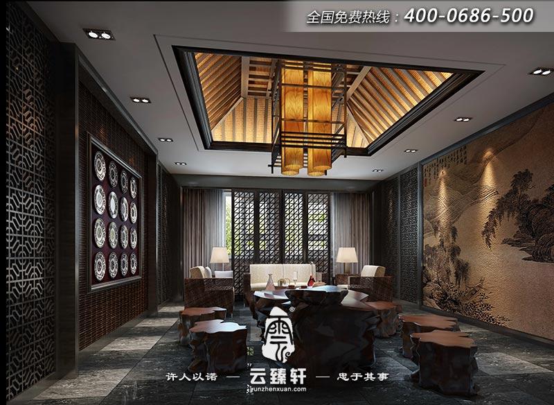 北京新中式休闲会所装修设计效果图