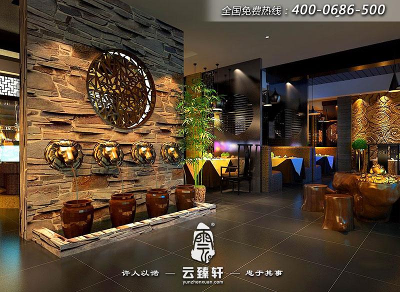 海鲜养生馆饭店中式装修效果图图片