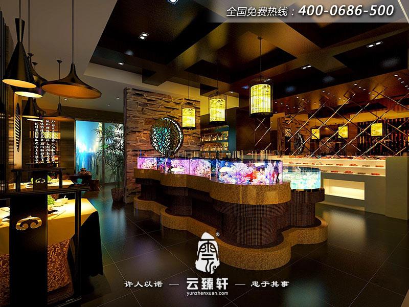海鲜养生馆饭店中式装修效果图