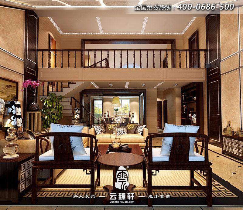 现代中式楼中楼客厅装修效果图