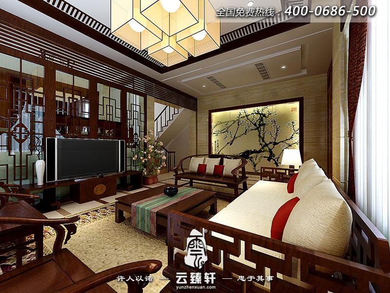 巴郎中式东南亚楼中楼客厅装修效果图