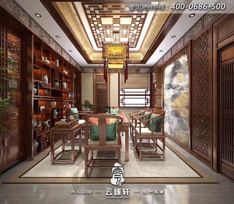 四合院茶室墙身中式花格栅立体感十足,加上茶桌椅的配饰,中式韵味