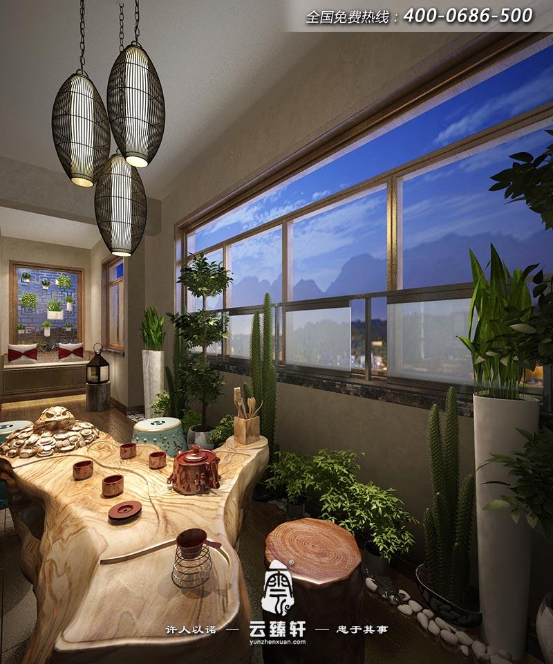 景观阳台禅意茶室装修效果图