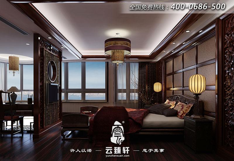 中式别墅卧室书房一体装修效果图