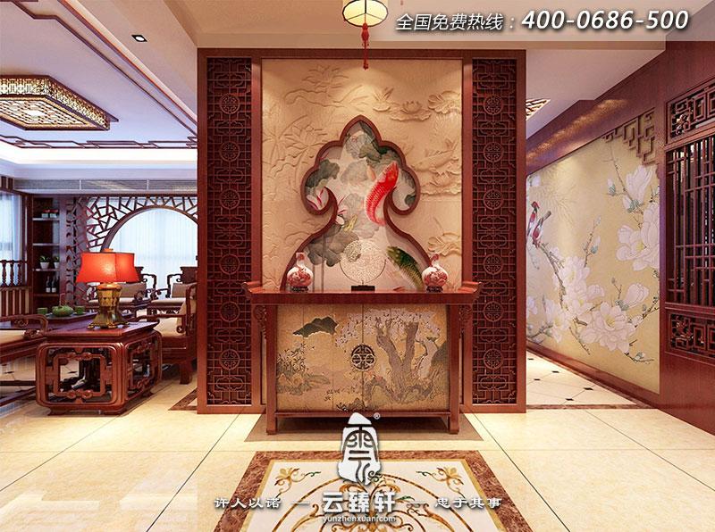 整个中式玄关隔断空间遵循当下最受欢迎的开放式格局,放眼望去开阔大气,东方韵味鲜活。中式家具删繁就简,更符合现代人的审美和生活习惯。