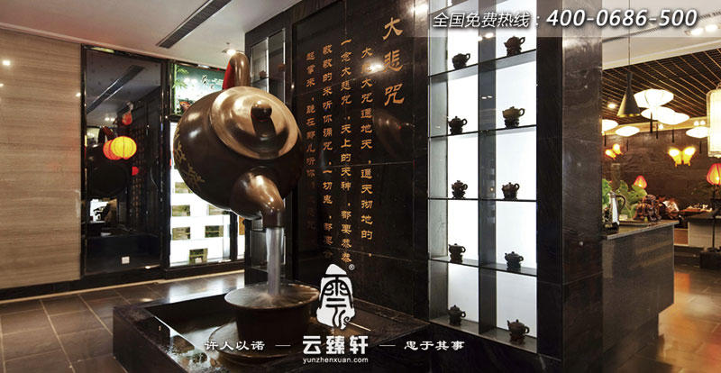 陕西充满古风茶韵的茶楼会所装修实景图