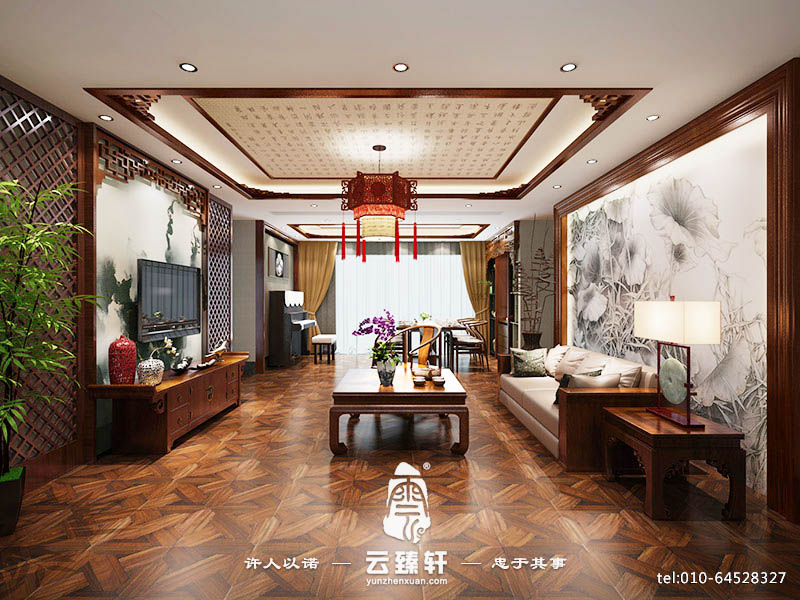 中式木条屏风墙