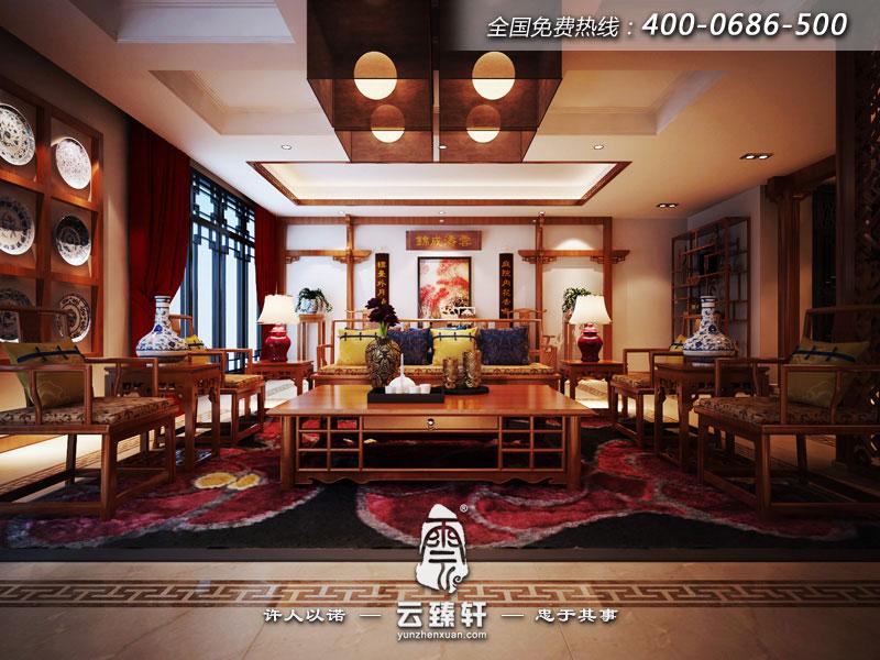 中式客厅风水山水画_北京云臻轩中式设计机构