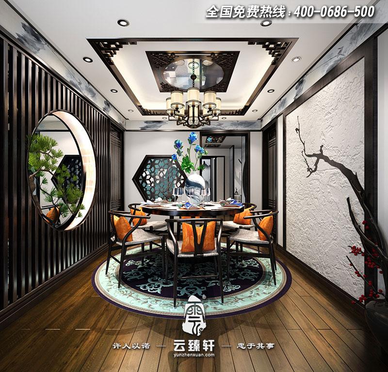 吊顶以中式古典花格为主,搭配上新中式餐桌椅以及中式地毯,整个餐厅图片
