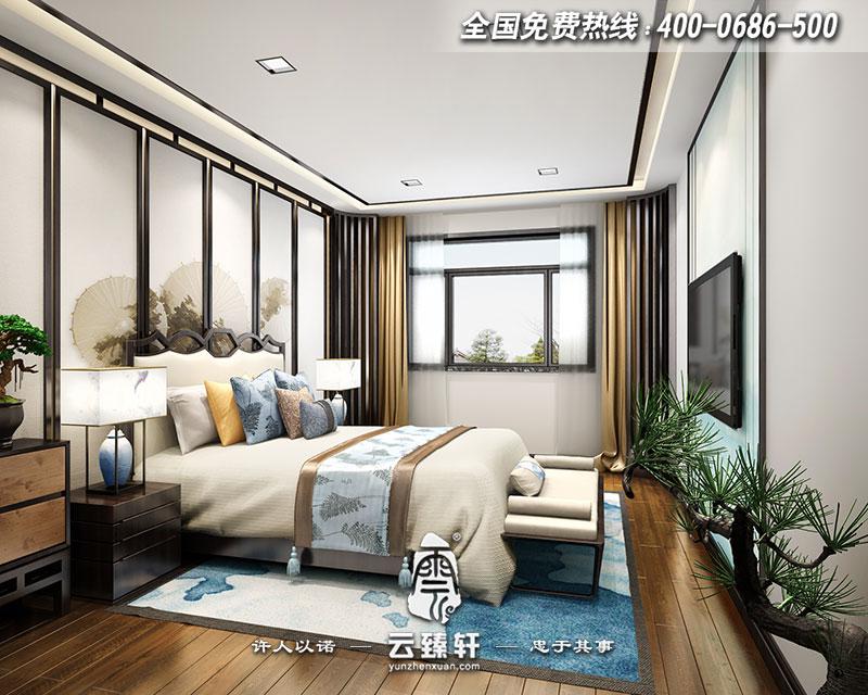 别墅新中式主卧装修效果图图片