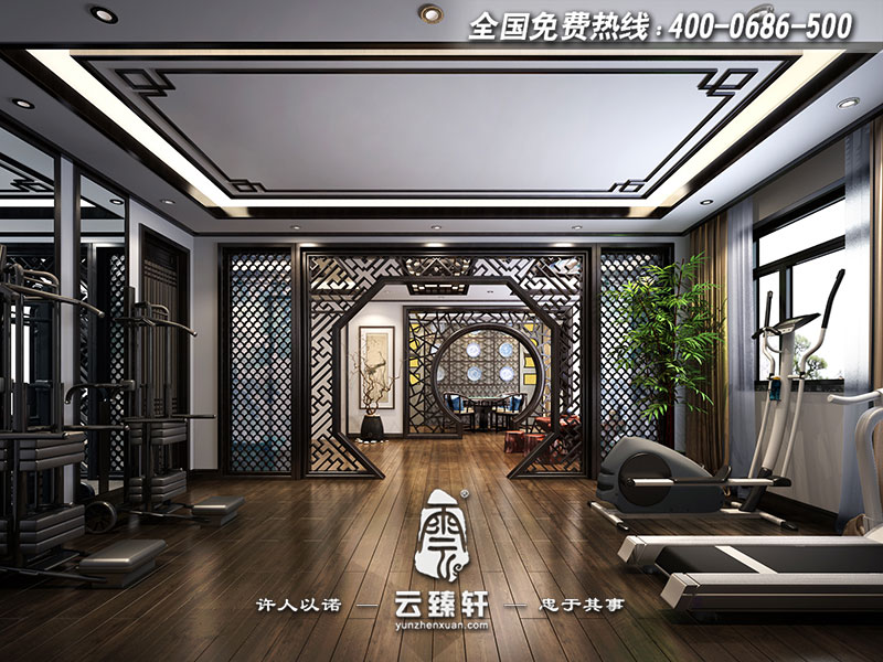 自建别墅的三层为休闲娱乐区,有棋牌室,有健身区域,合理,自然的空间