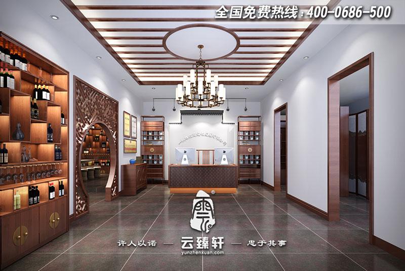 茅台酒中式展厅大堂设计效果图