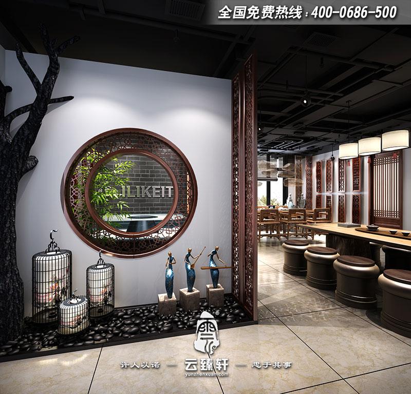 空调风口中式展厅门厅设计效果图