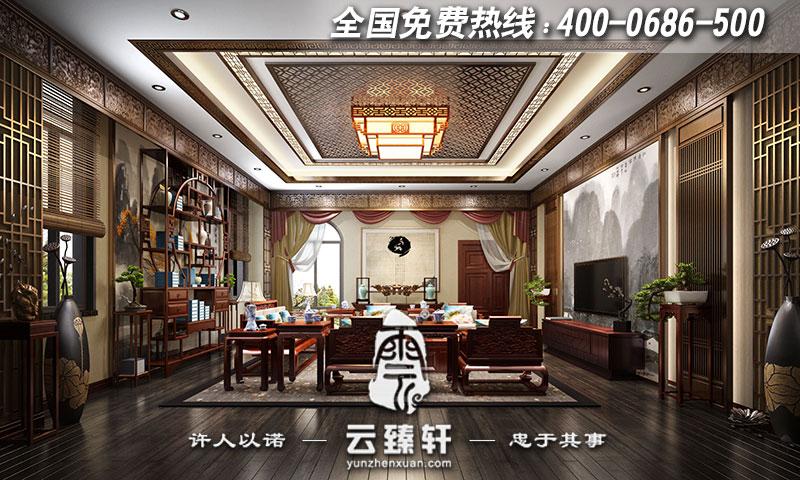 别墅中式风格电视墙装修效果图_北京云臻轩中式设计