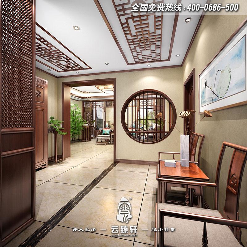 别墅入口门厅过道墙面承接地面纹路而上,门厅摆放的桌椅,前后都是造型独特而不突兀的家具。这样的空间,简约的同时,又创意万分。