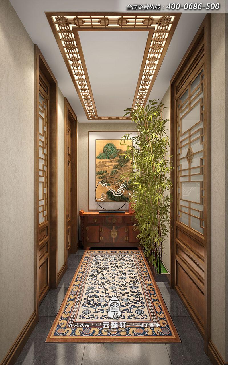 新中式家居玄关红木装修效果图家具厂走廊吉安图片