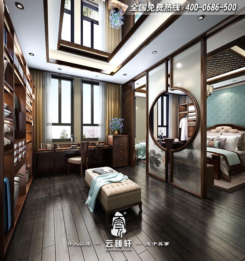 别墅新中式主卧室衣帽间装修效果图