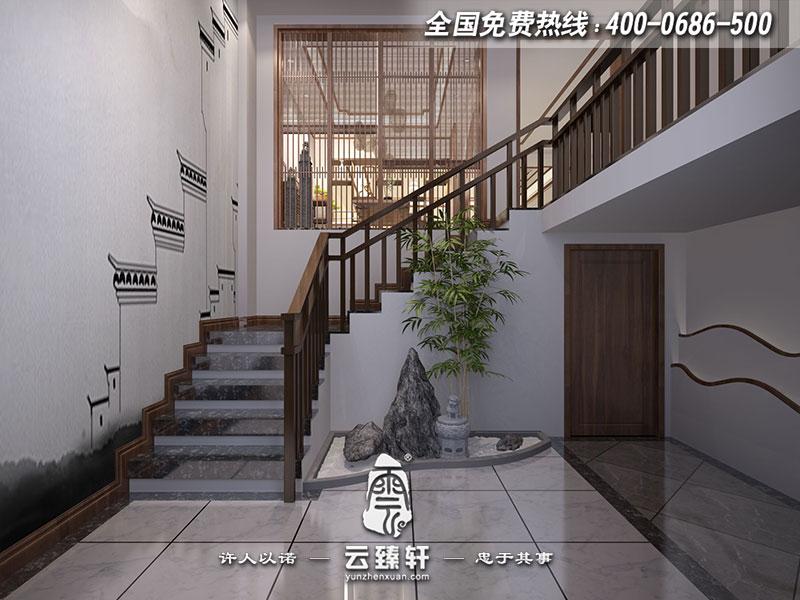 禅意中式入户楼梯口装修效果图