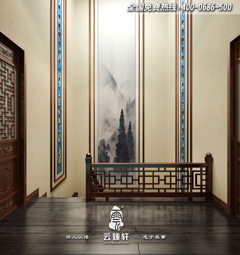 对于别墅中式楼梯挑高的空间的壁画设计,完整诠释优雅意境,在开放格局气势, 以及充裕自然采光与灯光照明下,都与空间相得益彰地彰显出非凡价值。