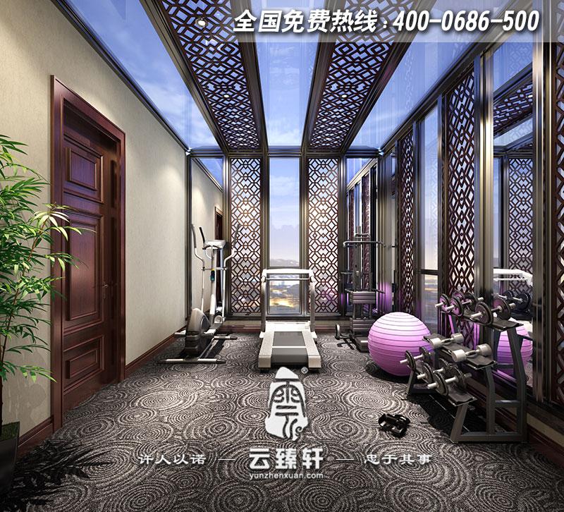 中式风格别墅中式装修效果图     三层阳光房健身房的设计以现代为主
