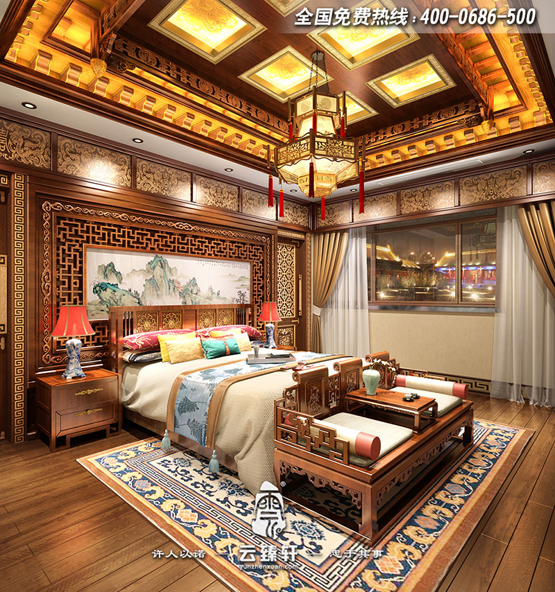 内蒙古800平米高端古典四合院中式会所设计装修效果图图片