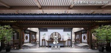 唐山玉田700平高端雅致四合院会所中式设计效果图